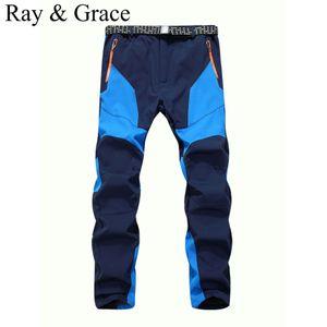 Wholesale- Winter Men Warm Softshell Fleece Pants Skiing Snowboard Outdoor Sport Hiking Trousers Grey Camping Climbing Breath Snow Pants