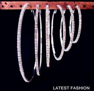 Orecchini pendenti con pavé strass Huggies Orecchini con diamanti CZ incastonati 8cm 9cm Orecchini pendenti con perno placcato oro reale Big Circle per le donne