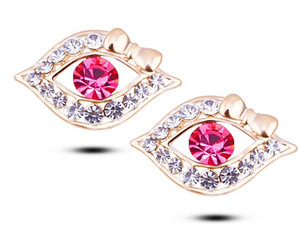 New 2016 Austria crystal Earrings one pair gold plated Eye Jewelry for women YPQ0453