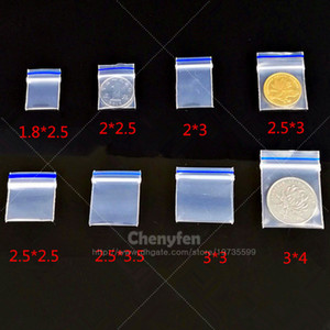 Frete Grátis Skinny Recloseable Sacos De Plástico (Lábio Com linha Azul) 100 pcs Limpar Mini Ziplock Baggies
