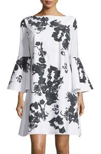 Fleur Imprimer Femmes Robe droite Bell-Sleeve Mini Robes 102065