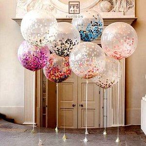 5 adet 18 inç büyük balon renkli konfeti balon Brithday Parti düğün dekorasyon Lateks Şeffaf şeffaf Balon