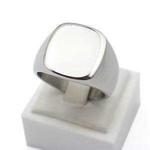 Großverkauf Großhandel Gravieren poliert Plain Custom Design Silber Titan Edelstahl Schmuck angepasst Siegelring Band