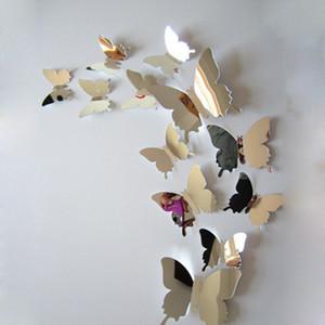 12x Miroir Ruban 3D Papillons Stickers Muraux Parti Décoration De Mariage Décoration de La Maison Amovible Decal Vinyle Art Mural Sticker Mural