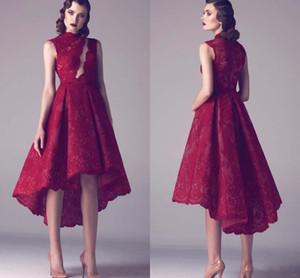 2017 Nuevo Modest Sheer High Low Lace A-Line Corto sin mangas vestidos de noche más tamaño vestido de fiesta rojo vino vestidos de fiesta por encargo
