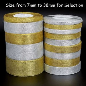 25yard lot Handmade Glitter Golden Silver Ribbon Metallic Luster for Wedding Christmas Invitation Decoration Card Gift Warpping