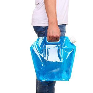 Azul Eco-Friendly Portable Plegable Reutilizable 5L 10L Botella de Agua Al Aire Libre Deportes de Viaje Bolsas Plegables de Almacenamiento de Agua