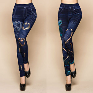 Cortar hueco atractiva elásticos pantalones de las mujeres al por mayor de impresión de la flor Vaqueros ajustados Denim Leggings 87 SMT