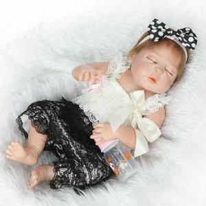 """23 """"Full Silicone Art Dolls Realistische Reborn Baby Girl Newborn mit rosa Outfits Kids Houseplay Spielzeug"""