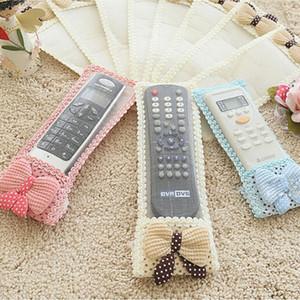 도매 - 사랑스러운 Bowknot 레이스 원격 제어 방진 주최자 보관 가방 TV 에어컨 커버 섬유 보호 가방 3 크기 3 색