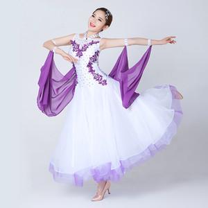 Vestidos de baile Waltz Ballroom bordado de manga larga vestido de baile de salón de manga larga para las mujeres vestidos de baile de competencia