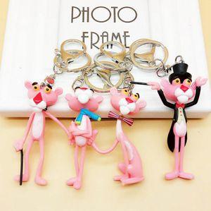 Pantera cor de rosa Chaveiro Chave Fivela Bonito Chaveiro Pingente Boneca de Vinil Anel Chave Figuras Coleção OOA3312