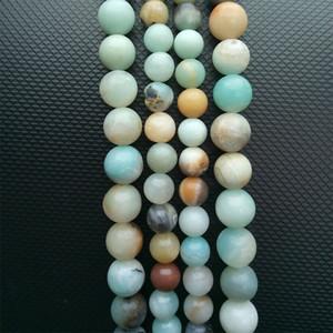 """Stein Lose Perlen Runde Frost Multicolor Amazonite Naturstein Perlen 15 """"2,3,6, 8,10, 12mm Perle Für DIY Halskette Schmuck machen"""