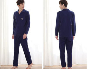 Fábrica de vendas diretas outono novos casais cardigan longas mangas de tricô homens pijama-803 algodão modais