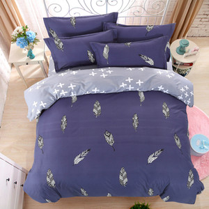 Wholesale- LUCKY TEXTILE bedding set feather king size blue duvet cover bed sheet queen full size modren bedding adult grid stripe bed set