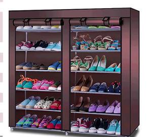 La venta al por mayor caliente de la alta calidad modificó para requisitos particulares el polvo doble 12 del paño de Oxford de la fila reciba el estante para zapatos multifuncional simple