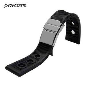 JAWODER Watchband 22mm / 24mm 블랙 방수 잠수 실리콘 고무 시계 밴드 스트랩 실버 스테인레스 스틸 걸쇠 B - R - E를 시계