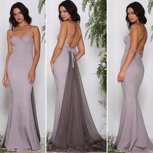 Sexy Backless Vestidos de Dama de Honra Simples 2017 Novo Design Sereia Cintas de Espaguete Querida com Trem Destacável Formal Vestidos de Festa À Noite