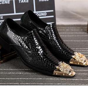 2017 أزياء الرجال أوكسفورد أشار تو اللباس أحذية ثعبان الجلود تنفس مثير رئيس المعدنية الرجال أحذية عالية الكعب حفل زفاف الأحذية