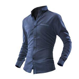 Wholesale- 4558 Men Business Shirt Long Sleeve Formal Solid Fitness Turn-down Collar Shirt Casual Park Dots Shirt