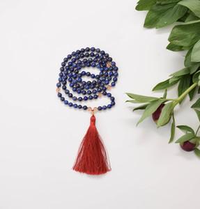 108 Лазурит мала бусины с цитрином бохо ювелирные изделия медитации мала бусины Лазурит ожерелье буддийский ожерелье молитва ювелирные изделия