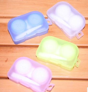 500set 4in1 Plastic Companion box with Hanging hole contact lens box Eyeglasses Case Dressing case With tweezers