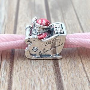 Natale 925 Sterling Silver Beads Sleighing di Santa fascino Adatto monili dei braccialetti europeo di stile Pandora Collana 792004CZ