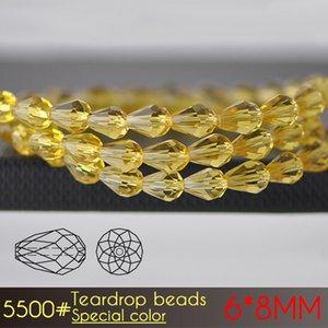 Xulin Glass Beads Supply Teardrop Bead 6x8mm Colori speciali Serie A5500 72 pezzi / set per la creazione di gioielli