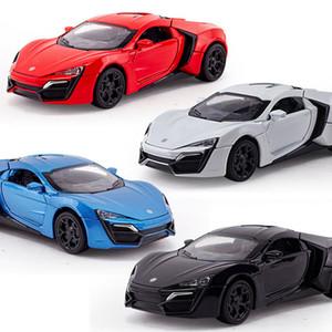 1:32 niños juguetes rápido y furioso 7 Lykan Hypersport Mini Auto metal coches de juguete modelo pull back coche miniaturas regalos para los niños