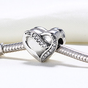 Vente en gros VRAI-925 Sterling Sterling non plaqué ruban d'amour Heart CZ Charms européen Perles Fit Pandora Snake Chain Chaîne Bracelet DIY Bijoux
