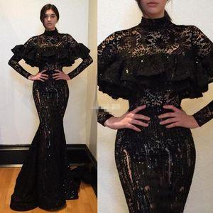 Saudi-arabien Schwarz Spitze Abendkleider 2017 High Neck Long Sleeves Meerjungfrau Abendkleider Sexy Durchsichtig Frauen Formale Party Kleid