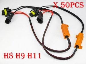 DHL 50x50 W 6ohm Ouro Fusível LEVOU Farol Canbus Erro Canceler Fiação H1 H7 H8 H9 H11 9005 9006 Descodificador de Carga Resistor Anti-Hiper Flash piscar