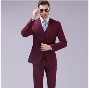 2017 Famous Brand Mens Abiti da sposa Sposo 3 pezzi (giacca + vest + pant) Tuxedo Suit Slim Fit uomo