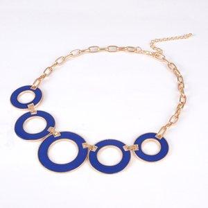 Novo Design de Moda Mulheres Beads Esmalte Oco out redondeza Cadeia Colar de ouro para as mulheres presente # N053