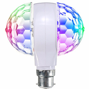 3W LED RGB Stage Light Bulb E27 Rotating For KTV Bar Disco Party Decor Lamp Double Headed Ball Stage Effect Lighting
