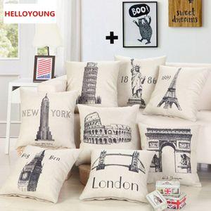 BZ091 Cuscino Federa Tessile per la casa fornisce lombare del cuscino famosi edifici cuscini di tiro sede della sedia