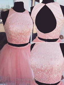 New Two Pieces Homecoming Vestidos 2017 Vestidos de Baile Curto Pérolas Frisado Doce 16 Vestidos