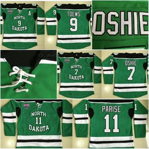 North Dakota Fighting Sioux 3 Tucker Poolman 7 TJ Oshie 9 Jonathan Toews 11 Zach Parise 16 Brock Boeser Camisetas de hockey 100% cosidas para hombres
