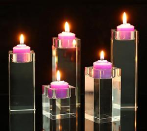 Kare Temizle Kristal Mumluk Şamdanlar Akrilik Çay Işık Mumluklar Düğün Noel Partisi DIY Dekorasyon şekeri