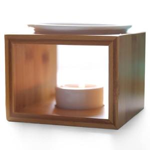2017 Nuevo Diseño de Bambú Quemador de Aceite de Cerámica de Alta Calidad Vela Lámpara de Aceite de Aromaterapia Regalos Y Artesanía Decoración para el hogar Aroma horno