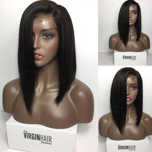 Curto Bob Peruca de Cabelo Humano Peruano Virgem Cabelo Curto Peruca Sem Cola Cheia Do Laço peruca de cabelo humano Rendas Frente Bob Perucas