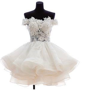 2020 Short Puffy Evening prom dresses Off Shoulder Lace Sheer homecoming dresses Cheap vestidos de noiva