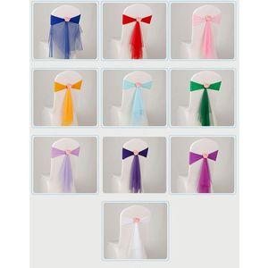 Bowknot Conçu Chaise Ruban No-cravate Bow Sash Mariage Hôtel Banquet Chaise Couverture Chaise Bandes Retour Décoration
