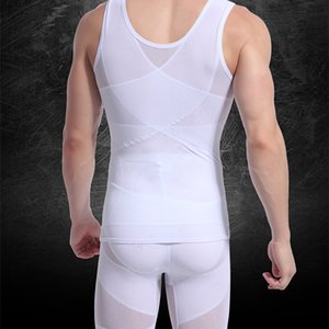All'ingrosso- Mens Shapewear Body Shaper Top Vest corsetto Tummy Control Muscle Elastico in vita