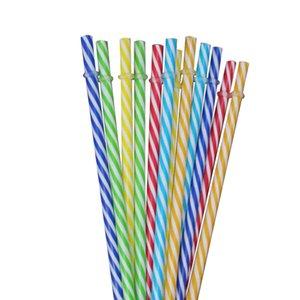 Renkli çizgili sert kalın plastik kullanımlık saman 16 OZ mason kavanoz 50 adet