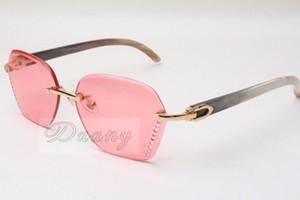 Vendre des lunettes de soleil slim diamant 8200728 Lunettes de soleil de haute qualité de la qualité Black and White Buffalo Horn Verres Taille: 58-18-140mm