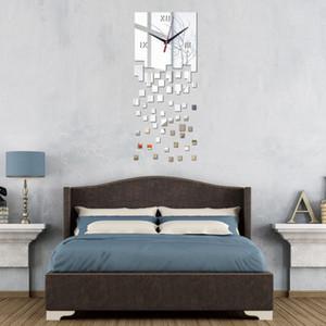 promoção atacado relógios de parede modernos espelhar projetar relógio DIY verdadeiro relógio de cristal 3d frete grátis decoração do quarto adesivo vida