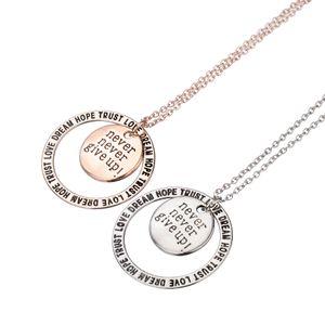 2017 Gold Silber überzogene Nie Nerver Aufgeben Liebe Traum Hoffnung Trust Anhänger Halsketten Nachricht ermutigung Charms Anhänger