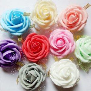 6cm Hochzeit Handgelenk-Blumen-Partei-Handgelenk-Dekoration Künstliche Blumen geschmückt mit Band und Spitze 9 Farben