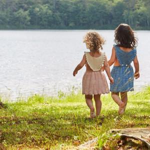 الاطفال ملابس 2017 الصيف الخريف الطفل بنات الأميرة حزب فساتين القطن الخالص محبوك الطفل ها تنورة